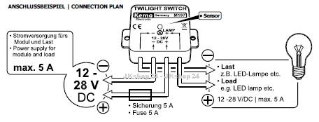 kemo m197 d mmerungsschalter sensor 12 28 v dc www. Black Bedroom Furniture Sets. Home Design Ideas